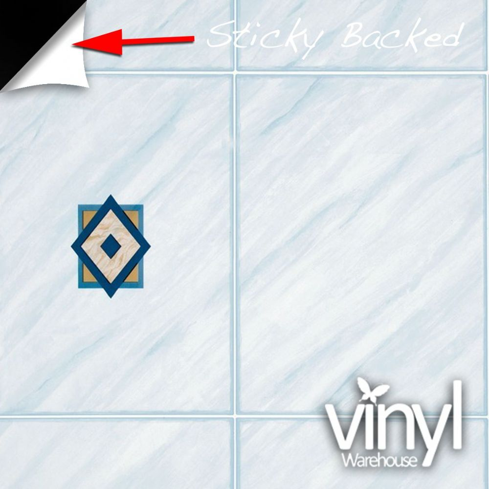 67cm x 2m Blue Tile Sticky Back Vinyl (380-8011)